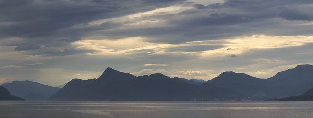Panorama evening fjord, Norway