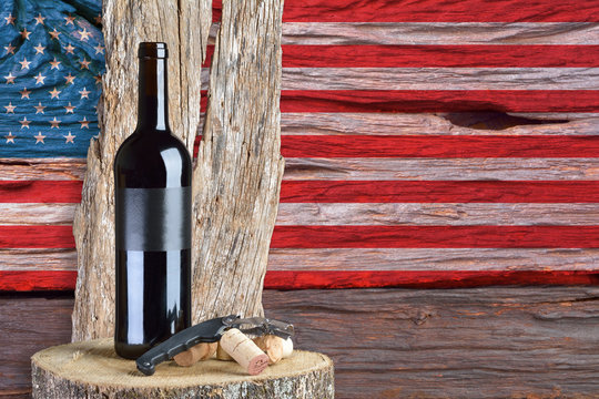 bottle of wine with the United States flag in the background
