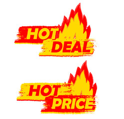 hot deal and price on fire, yellow and red drawn labels with fla