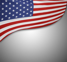 American flag on grey
