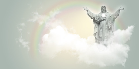 Jesus Christ in the clouds.