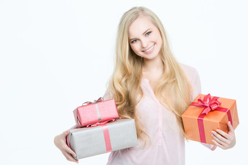 Portrait happy woman with gift box in hands.
