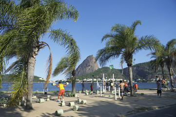 Brazilians Exercising Outdoors at Sugarloaf Mountain