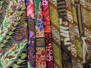 Batik fabris in a pile