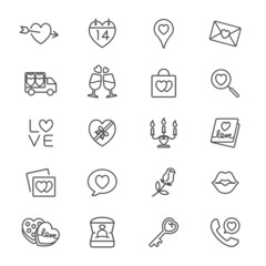 Valentine's day thin icons