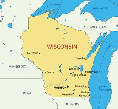 Wisconsin - vector map
