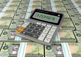 3D Calculator on Bahrain currency banknote