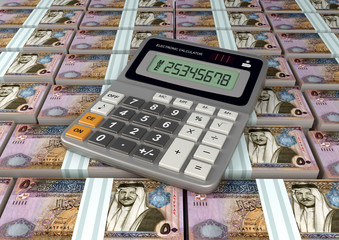 3D Calculator on Jordan currency banknote