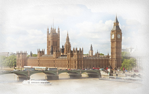 The Palace of Westminster.   Added paper texture.