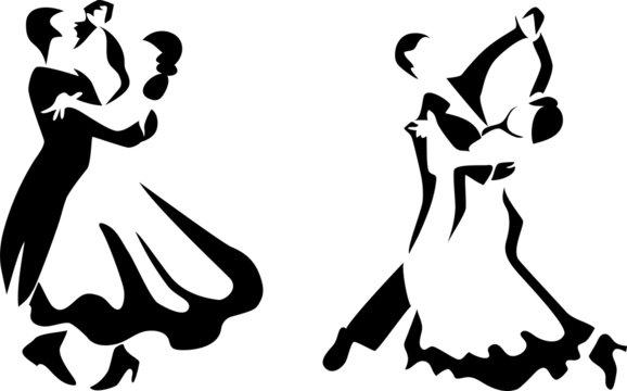 stylized ballroom dancers