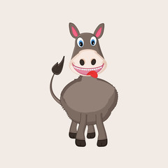 Funny cartoon character of a standing donkey.