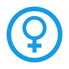 Icono redondo femenino azul
