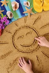 Hawaiian beach scene with smiling sun