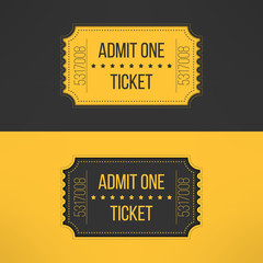 Entry ticket in stylish vintage style. Admit one cinema, theater