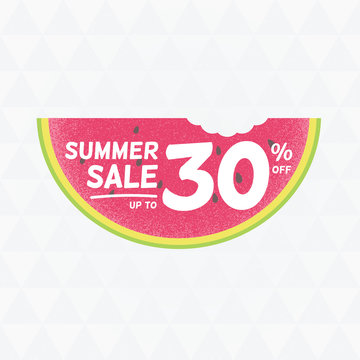 Summer Sale 30% off. Vector triangular background with watermelo