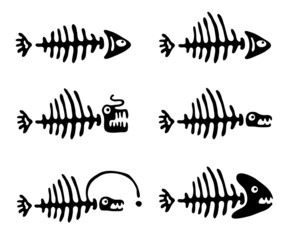 Set of fish bones, vector illustration