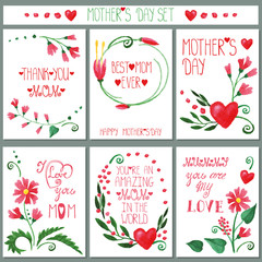 Watercolor red flowers card set.Mothers day