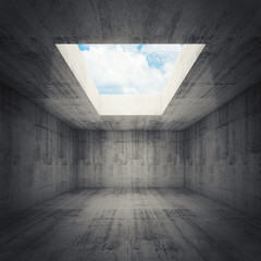 Abstract architecture, empty dark concrete room interior