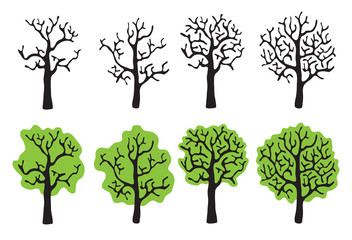Set of trees with and without foliage, vector illustration