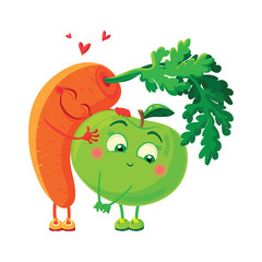 Carrots in love with the apple. Vegetables hug.
