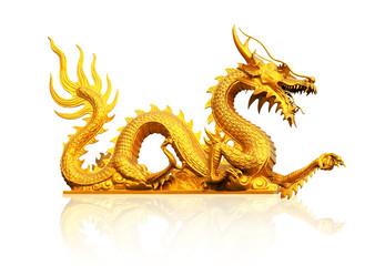 Golden gragon statue on white background.