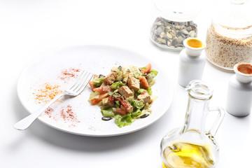 Tofu and vegetables salad. Olive oil, spices, pumpkin and sesame