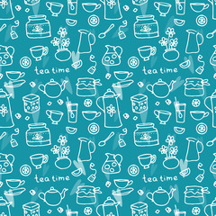 Tea Time. Vector seamless pattern with objects for tea
