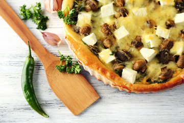 Cheese pie with mushrooms, herbs and sour creme,