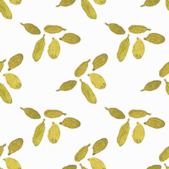 Seamless watercolor pattern with cardamom on the white