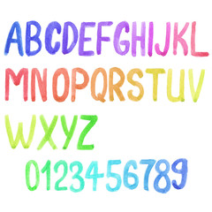 Colorful watercolor font, aquarelle. Vector illustration