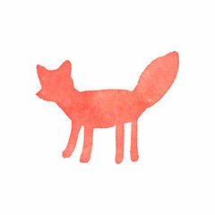 Watercolor fox on the white background, aquarelle. Vector
