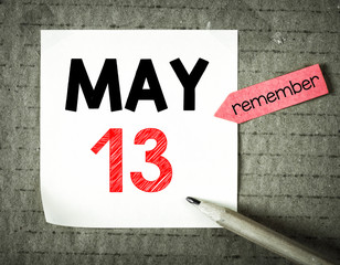 Note with 13 may