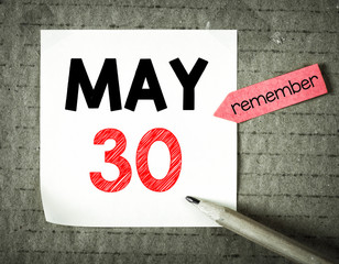 Note with 30 may