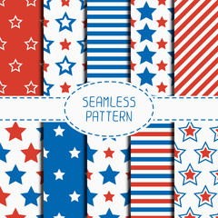 Set of geometric patriotic seamless pattern with red, white