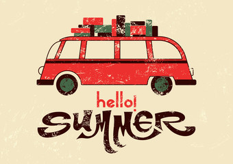 Hello summer! Typographic vector retro grunge poster.