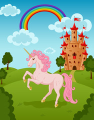 Unicorn with castle and rainbow