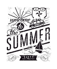 Black-white summer vector typographic retro grunge poster.