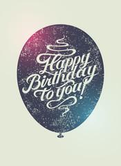 Typographical retro grunge vector Birthday Card.