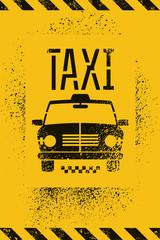 Typographic graffiti retro grunge taxi vector poster.
