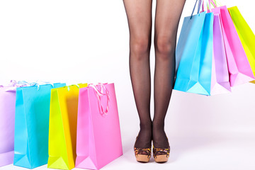 Women's slender legs and bags
