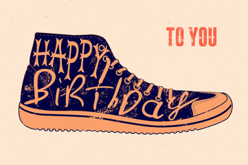 Typographical retro grunge vector Birthday Card.