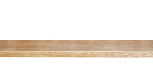wooden shelf isolated on a white background