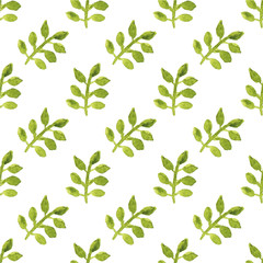 Seamless watercolor pattern with leaves on the white background