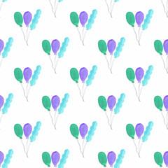 Watercolor seamless pattern with air baloons on the white