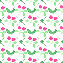 Seamless watercolor pattern with cranberries on the white