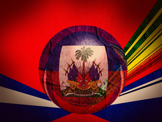 haiti national flag on stucco textured sphere