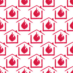 Watercolor seamless pattern with house in fire on the white