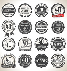 Printed roller blinds Retro Anniversary label collection, 40 years