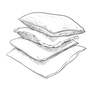 Hand drawn sketch of pillows