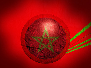 morocco national flag on stucco textured sphere